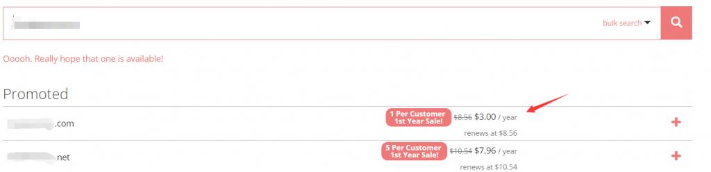 选择要购买的域名