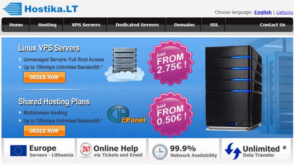Hostika立陶宛VPS半价促销:1核2G/25G硬盘/无限流量/100Mbps/KVM/2.75欧元/月 附注册教程 另有大硬盘VPS