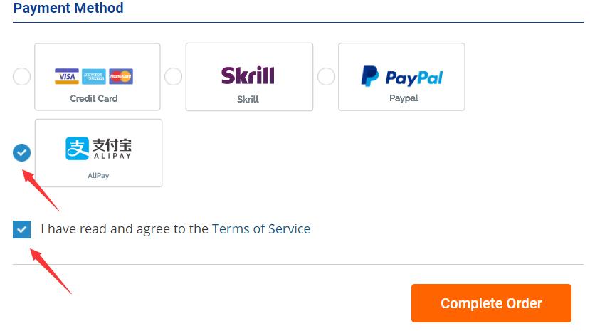 选择付款方式