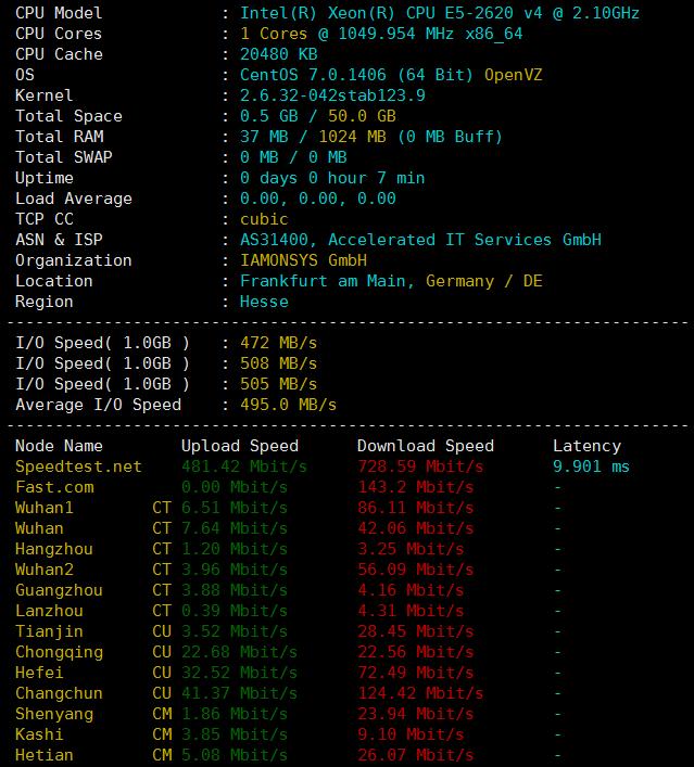 RootNerds德国月付2.1美元大硬盘VPS评测:硬盘读写快,三网直连,联通上传下载都快