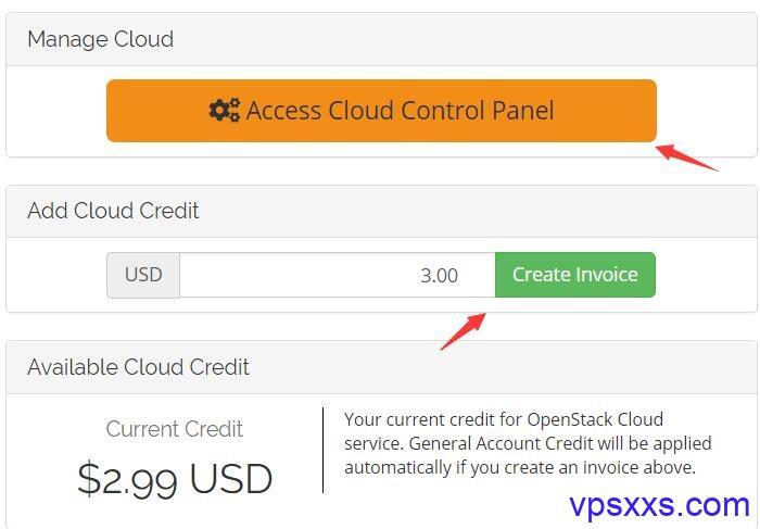 充值访问OpenStack Cloud控制面板