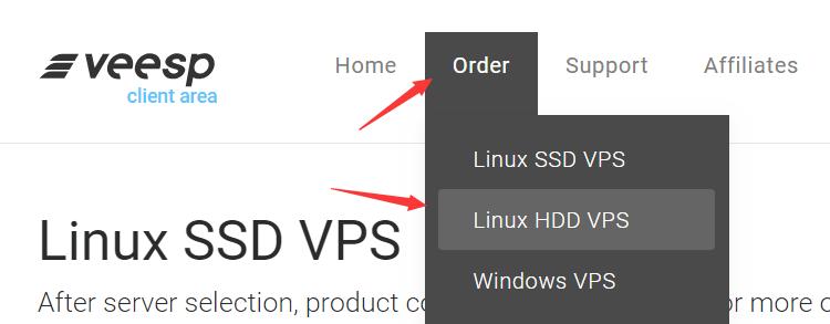 选择veesp HDD硬盘套餐