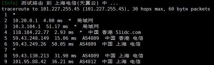 海星云香港VPS电信回程路由