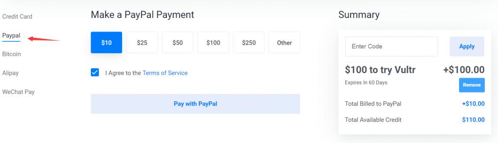 使用paypal获取vultr赠送的100美元