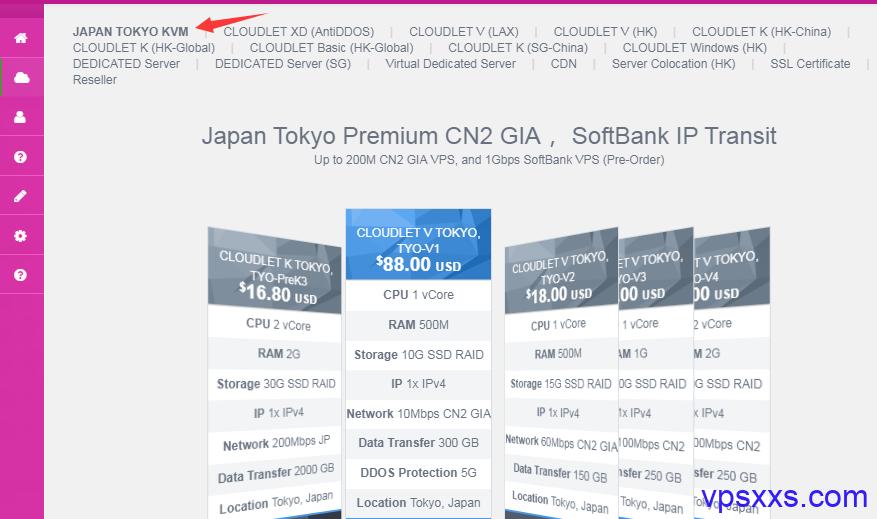 GigsGigsCloud日本VPS购买方法
