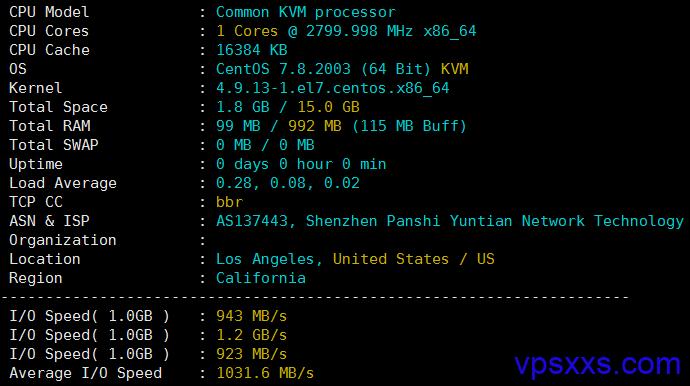 XXMhost美国洛杉矶VPS硬件测试