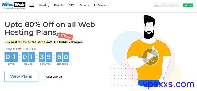 MilesWeb印度VPS:2核2G/50GB SSD/500GB流量/100Mbps/KVM/5美元/月,非托管/托管型,有windows套餐