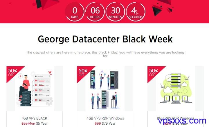 georgedatacenter黑五:美国VPS年付12美元,每天秒杀最低5美元/年,另有Windows7/2010系统vps