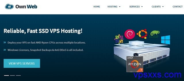 OwnWeb法国VPS:1核1G/25GB SSD/1个ipv6/15.99英镑/年,英国cPanel虚拟主机2.99英镑/月